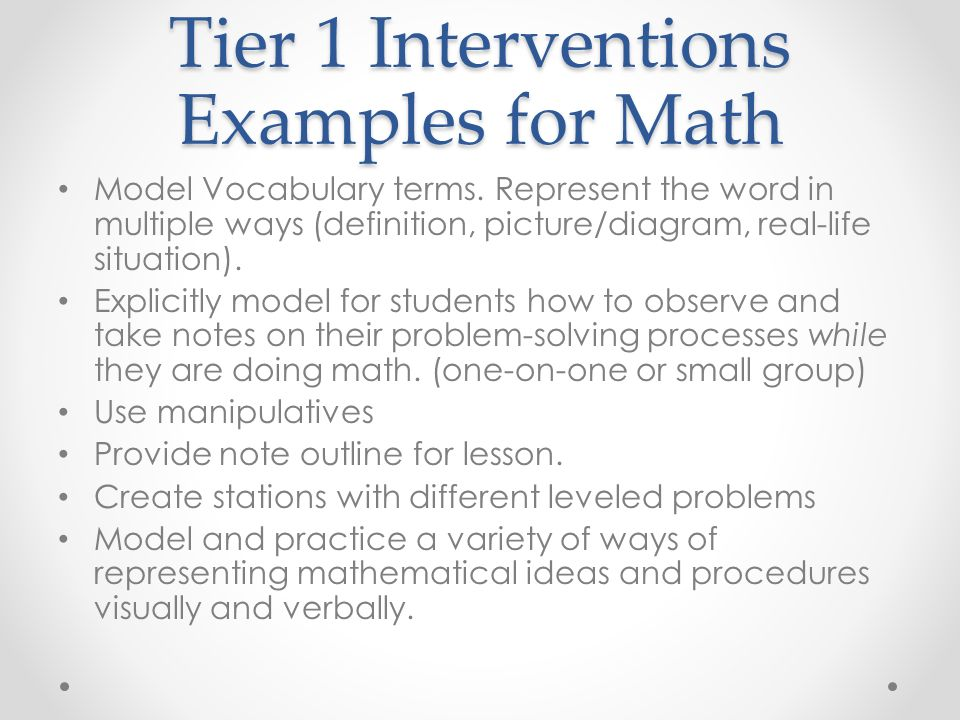Interventions at the Elementary and Secondary Levels Math