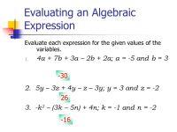 Printable Worksheets  Evaluate Algebraic Expressions ...