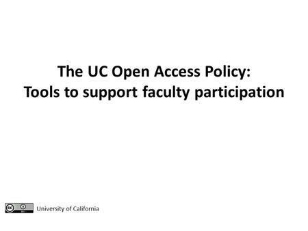 Informational Campaign for Open Access Policy Aaron