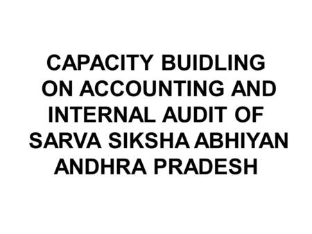 Statutory Audit of SSA Accounts for A PROGRAMME FOR