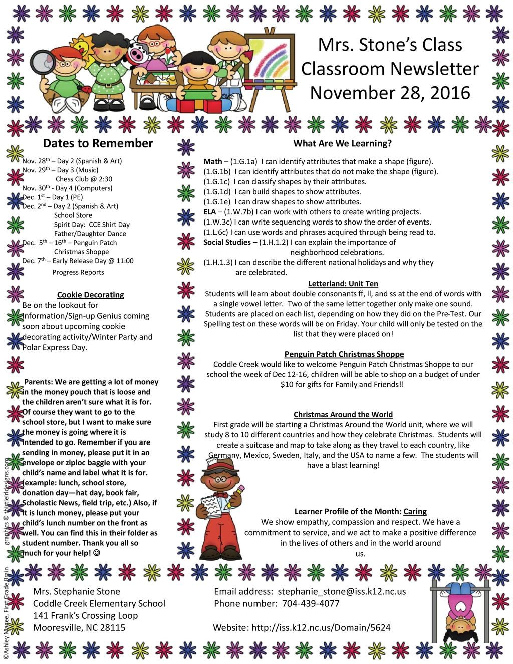 Christmas Around The World Learner Profile Of The Month Caring