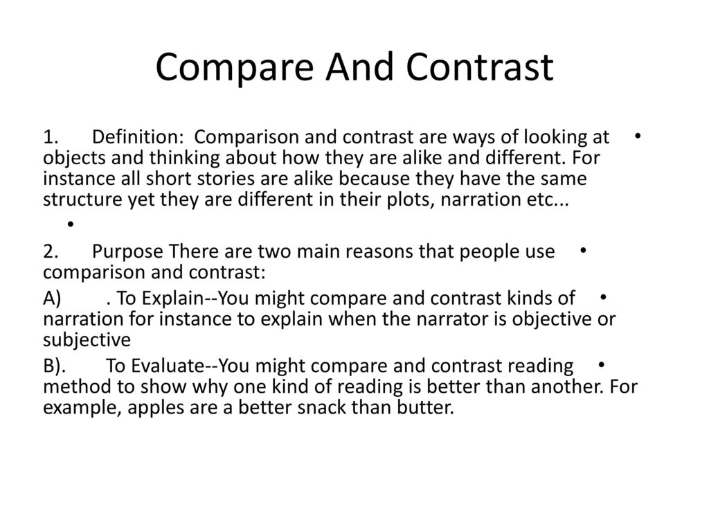 Example Of Comparison And Contrast Story