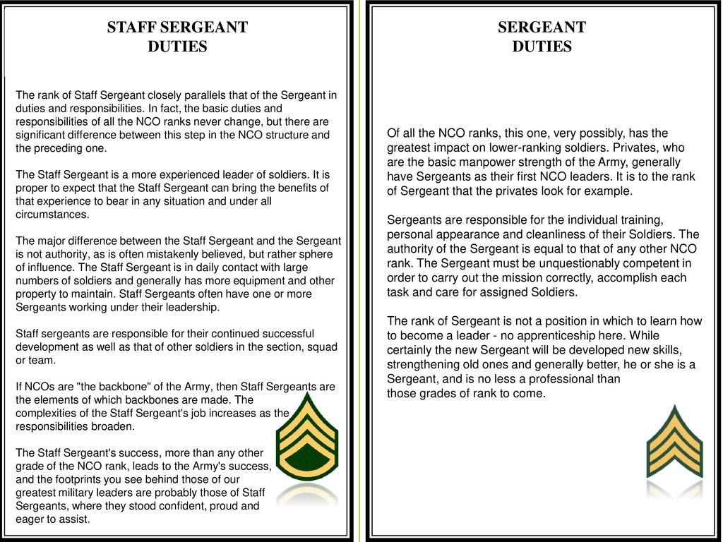 Motor Sergeant Duties And Responsibilities