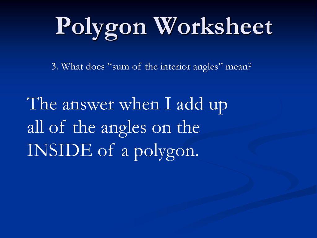 Worksheet Sum Of Interior Angles Worksheet Grass Fedjp
