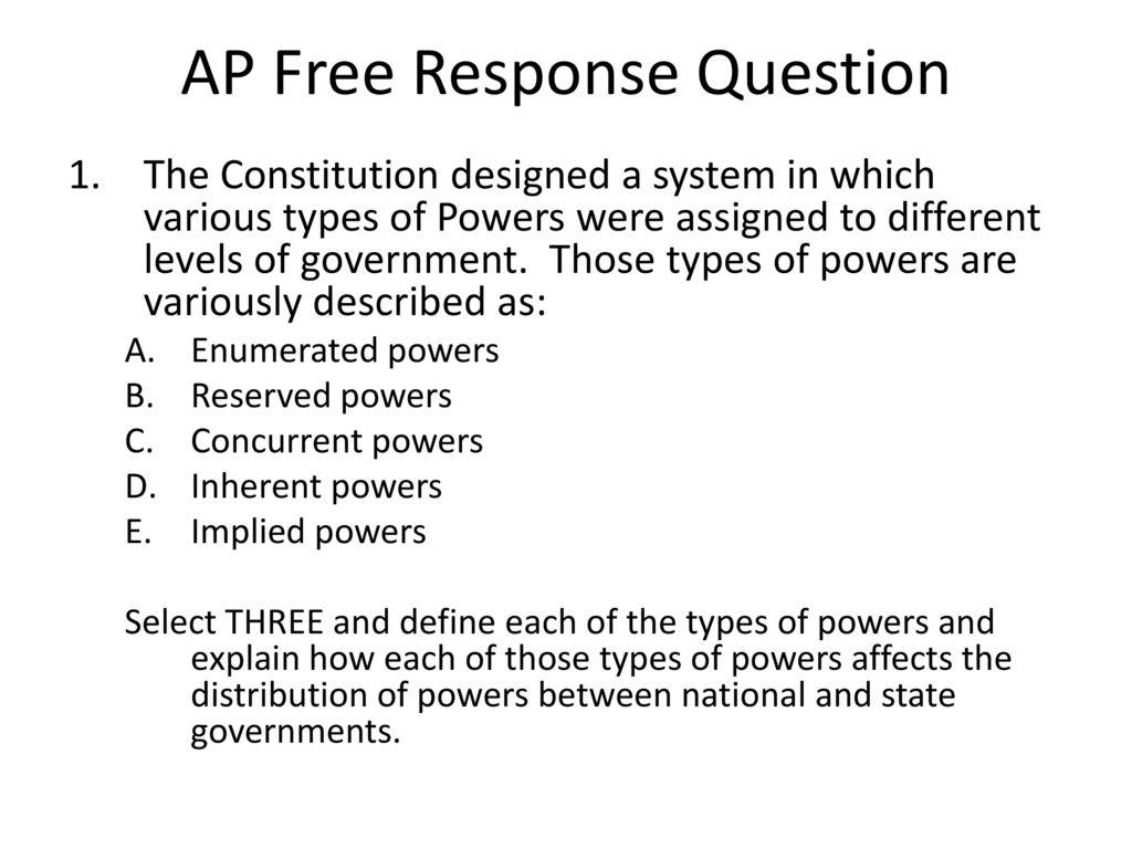 Federalism Worksheet Ap Government