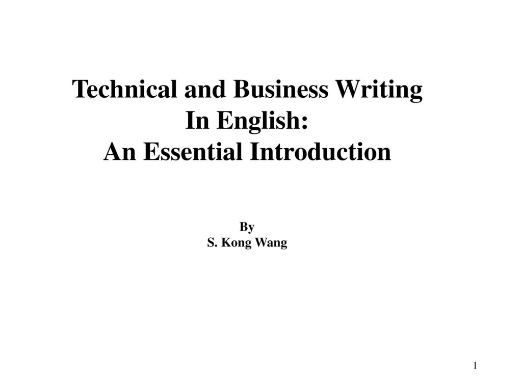 Technical and Business Writing An Essential Introduction
