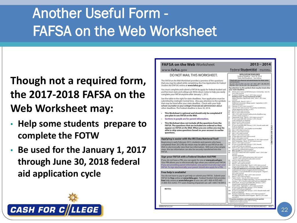 Fafsa Worksheet