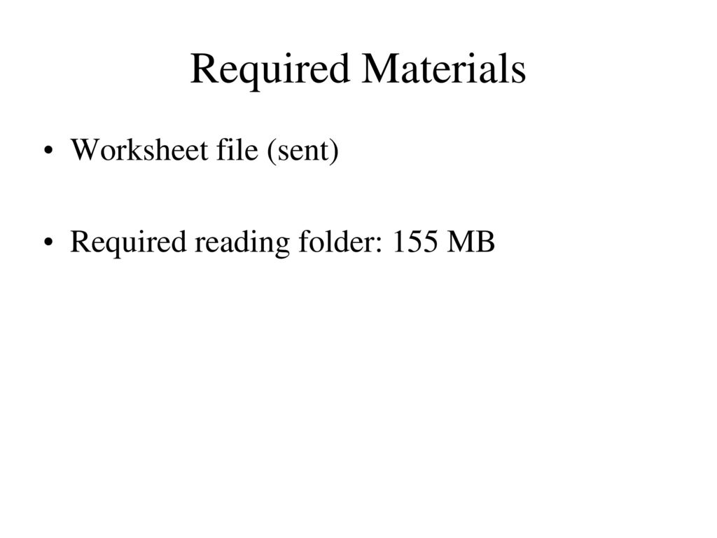 General Information On The First Page Of The Worksheets You Will Find