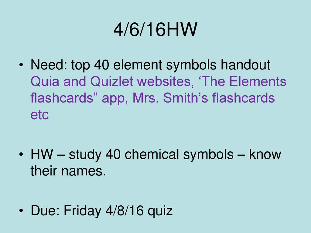 Element Quizlet Design Templates