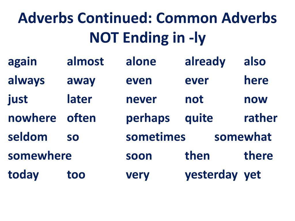 Adverbs Ending In Ly Worksheet