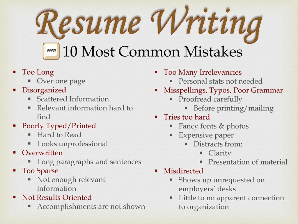 Common Resume Mistakes Resumes Ppt Download