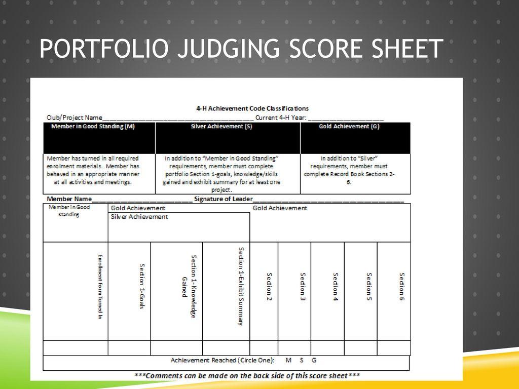 26 Portfolio Judging Score Sheet