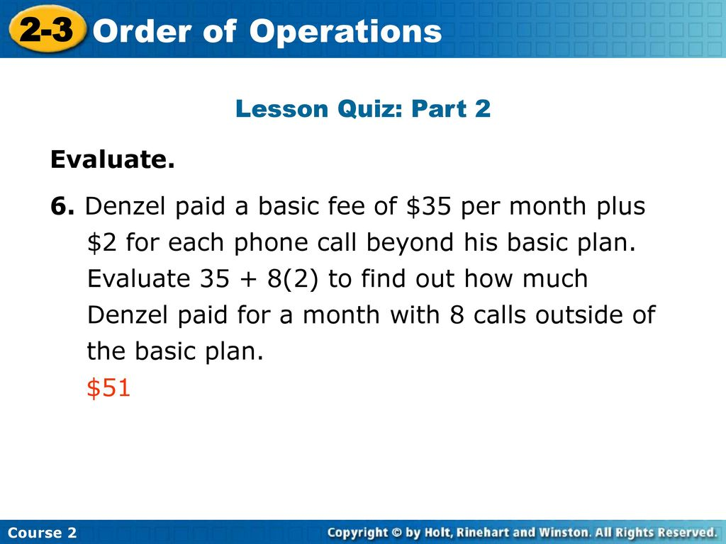 2 3 Order Of Operations Warm Up Problem Of The Day Lesson Presentation
