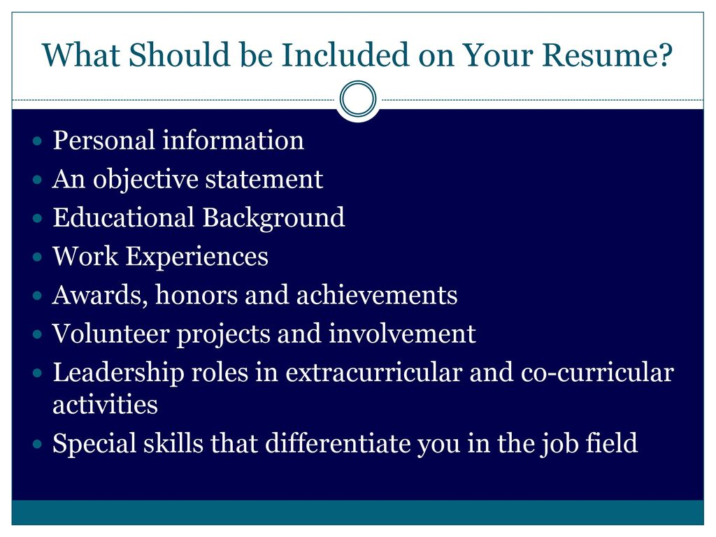 What Should Be Included In Resume Job Interview Skills And Resources Resume Ppt Download
