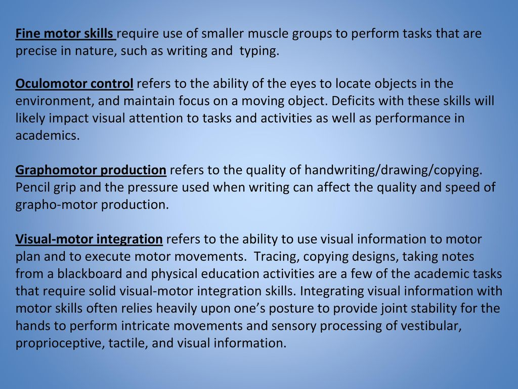 Fine Motor Skills Goals And Objectives