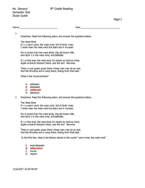 small resolution of Ms. Stevens' Semester Test Study Guide 8th Grade Reading - ppt download