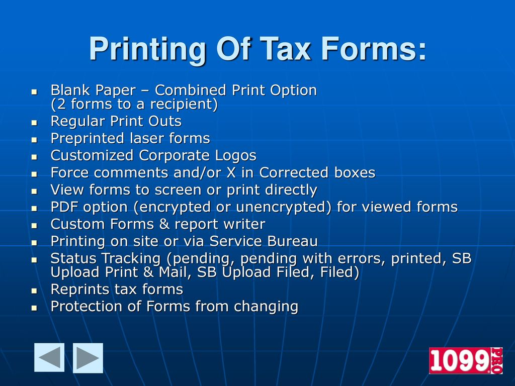 Printing Of Tax Forms: Blank Paper – Combined Print Option (2 Forms To A