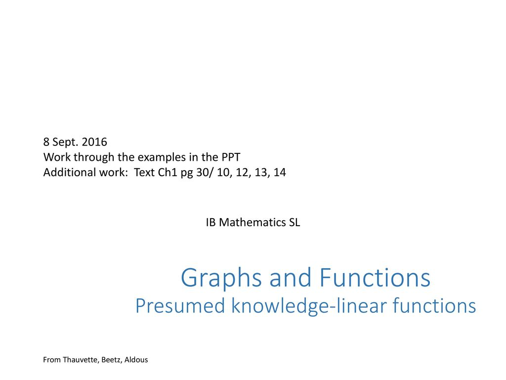 Graphs and Functions Presumed knowledge-linear functions - ppt download