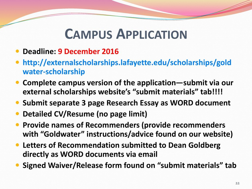 Goldwater Scholarship Ppt Download
