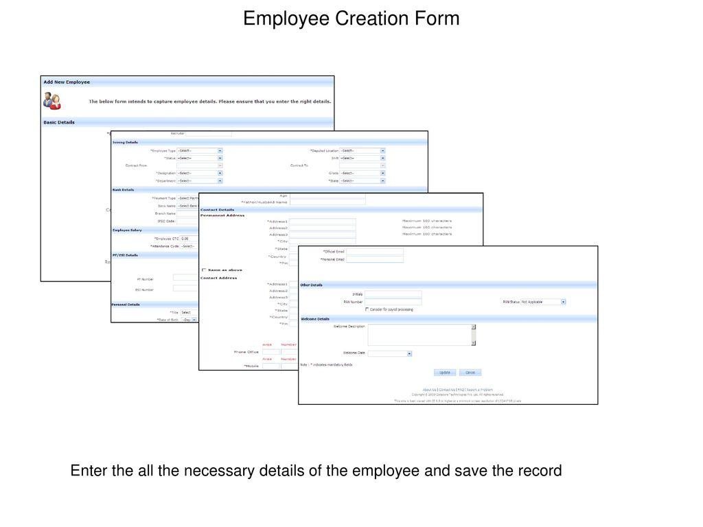 Employee Creation Form
