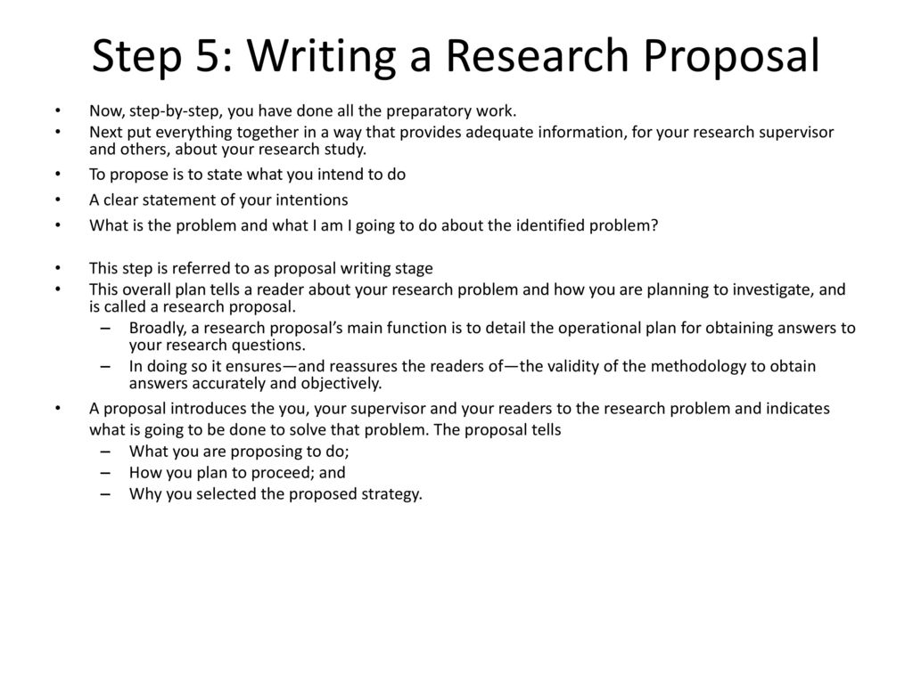 Step 5: Writing A Research Proposal