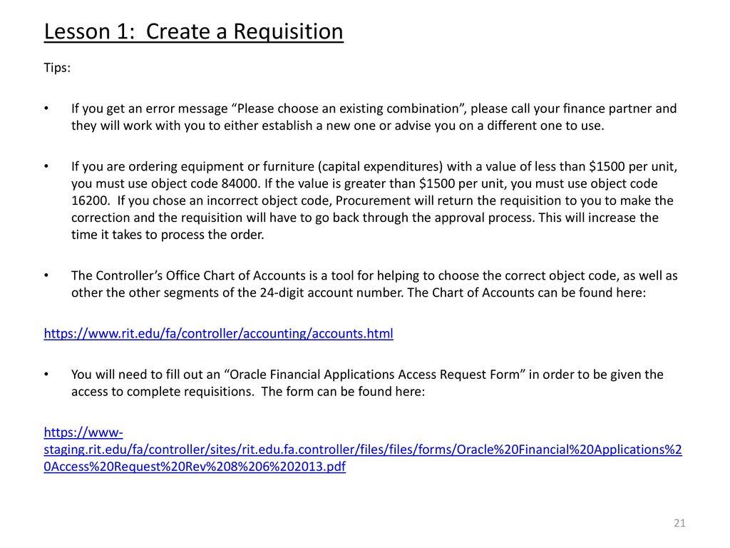 Lesson 1: Create A Requisition