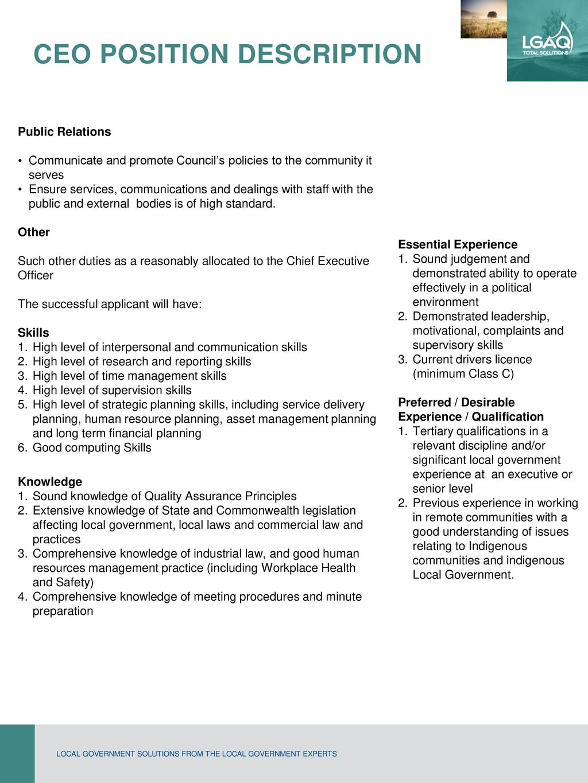 Ceo Position Description