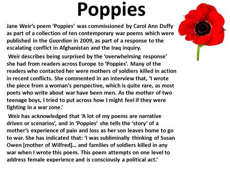 Poppies By Jane Weir Ppt Video Online Download
