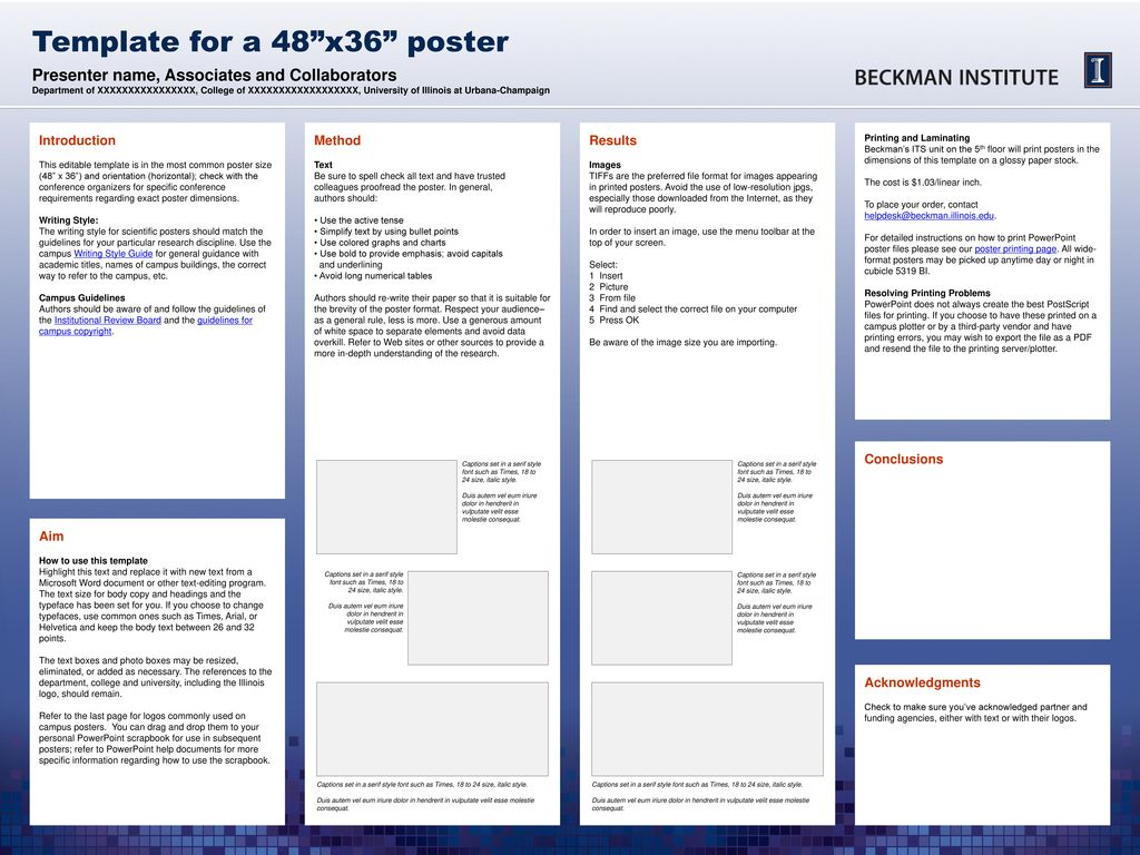 template for a 48 x36 poster ppt