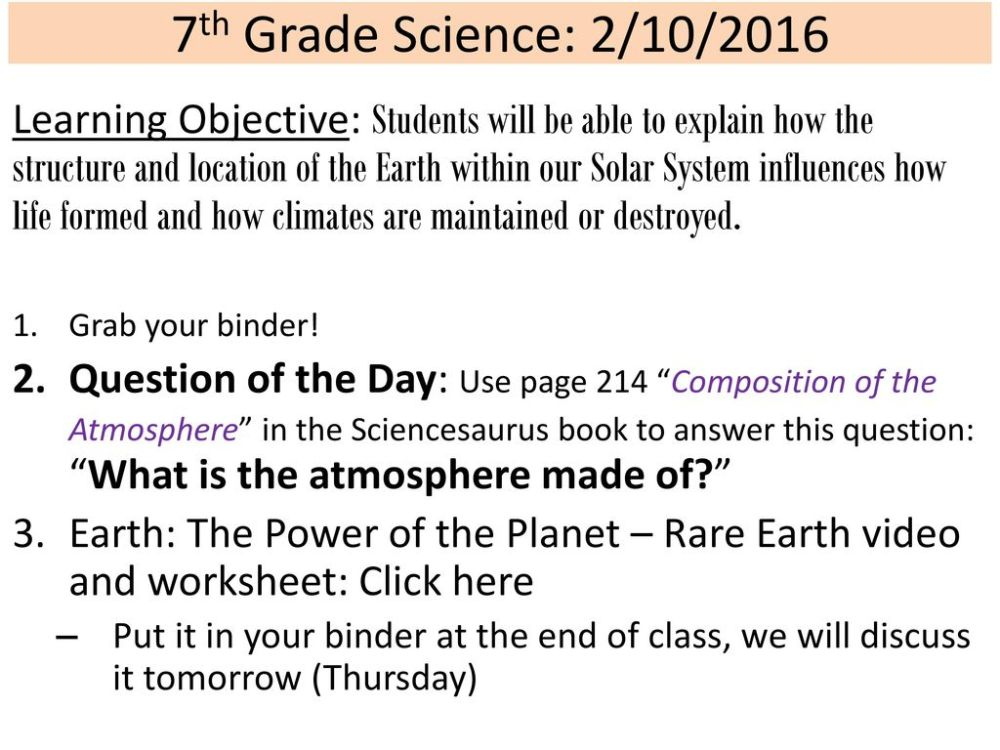 medium resolution of 7th Grade Science: 2/10/2016 Learning Objective: Students will be able to  explain how the structure and location of the Earth within our Solar System  influences. - ppt download