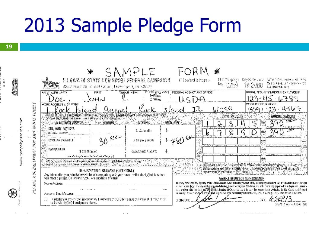 2013 Sample Pledge Form This Is A Sample Of A Civilian Payroll Pledge Form  . Last