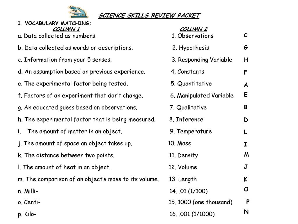 hight resolution of SCIENCE SKILLS REVIEW PACKET - ppt download