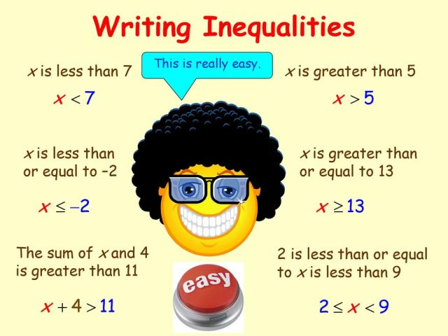Writing Inequalities x is less than 10 x is greater than 10 - ppt