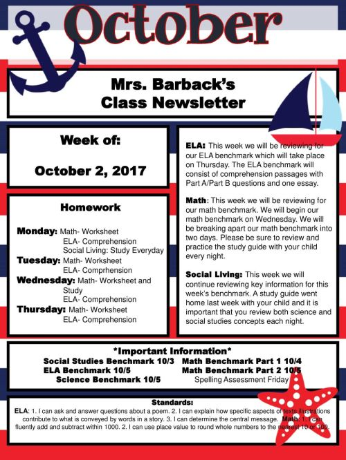 small resolution of Mrs. Barback's Class Newsletter - ppt download