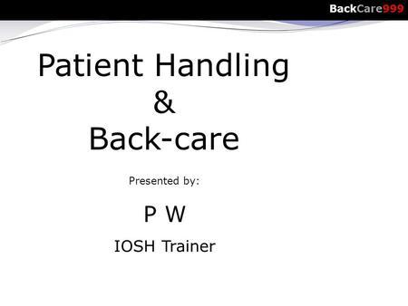 Manual Handling Health and Safety Adviser. Manual Handling