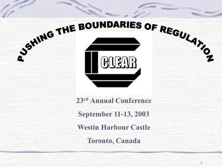 Presenters: Promoting Regulatory Excellence Perceptions of