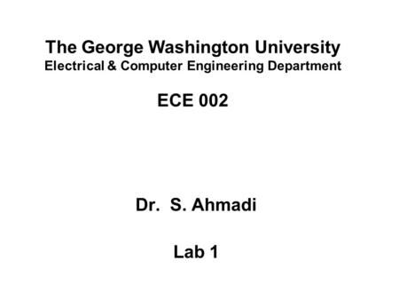 Elevator Project Description Dr. S. Ahmadi ECE ppt download