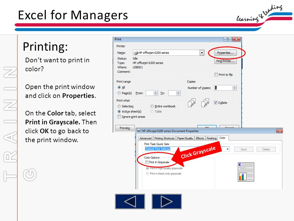 Training Excel For Managers Printing Dont Want To Print In Color