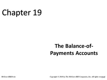 Balance of Payment (BOP). Structure of Balance of Payment