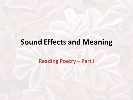 Figurative Language Similes, Metaphors, Personification