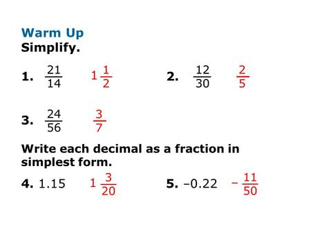 2-3 Adding and Subtracting Rational Numbers Warm Up