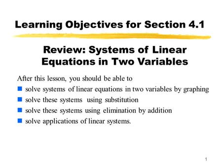 Systems Of Linear Equations In Two Variables (41) Ppt