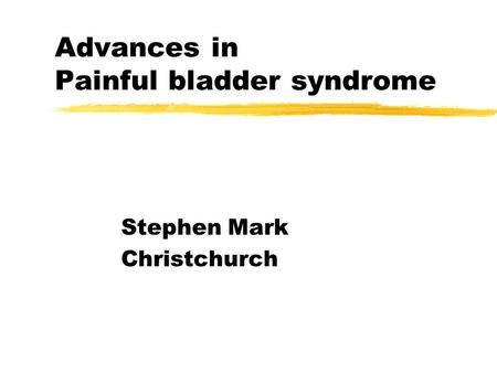 Cistite interstiziale e dolore pelvico cronico: quale