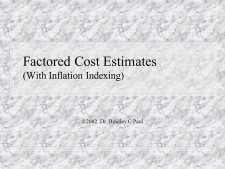 Truck Fleet Costs ©Dr. B. C. Paul 2000 Revised 2008, 2009