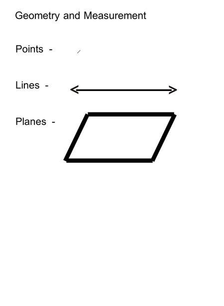 Basic Geometric Ideas 8-1 Vocabulary Words: Point Line