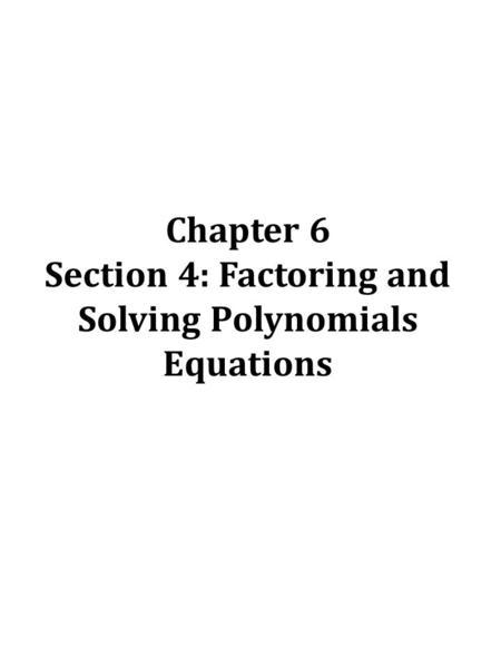 5.1 Factoring