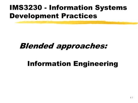 Information Systems Engineering. Lecture Outline