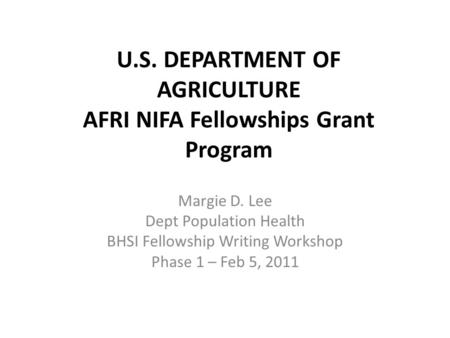 USDA National Institute of Food and Agriculture (NIFA