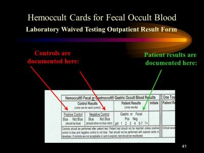 Hemoccult Cards for Fecal Occult Blood Training ...