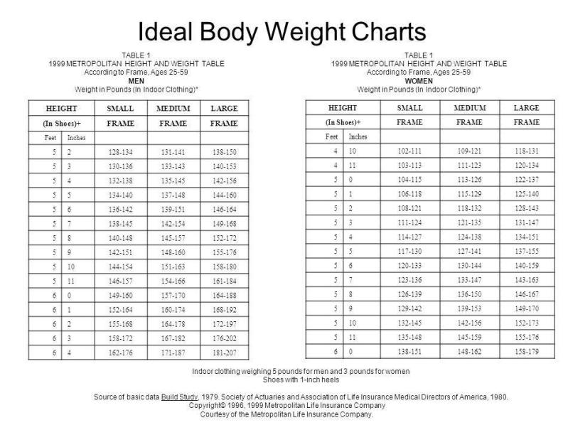 Ideal Weight For Height And Frame Allframes5